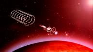 Futuristic spaceship entering gateway near planet HD video