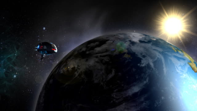 Futuristic spaceship flying by. video