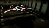 Futuristic spaceship in hangar launching to space video