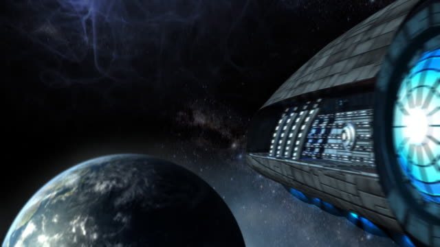 Futuristic spaceship video