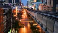 Futuristic train at night city video