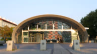 Futuristic train station entrance video