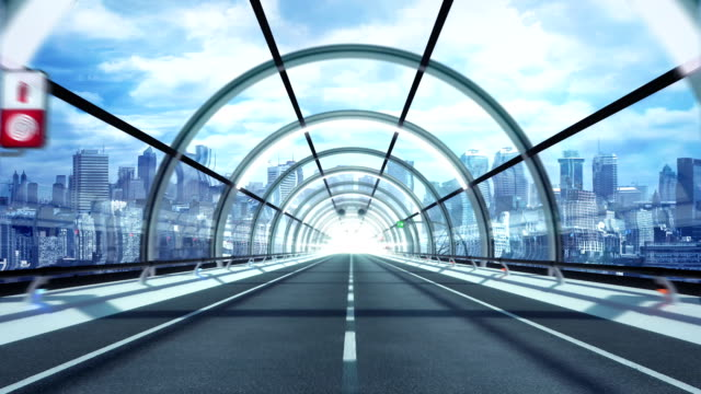 Futuristic tunnel. City version. HD loop. video