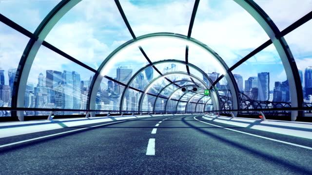 Futuristic tunnel. City version. HD loop. video