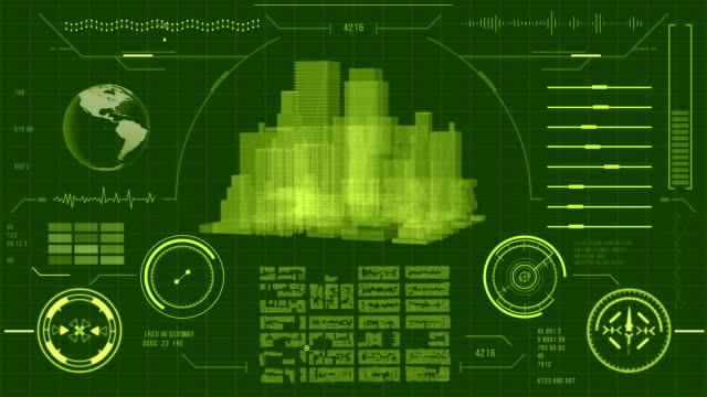 Futuristic urban navigation map user interface with HUD and infographic elements. Virtual technology background. video