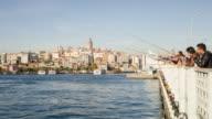TIME LAPSE: Galata Bridge with fishermen video