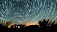 Galaxy Star Trails Timelapse Over Desert Cabin Sunrise video