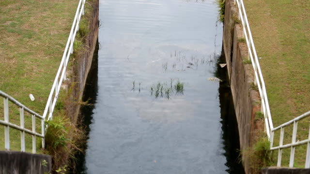 Galway canal small dam. video