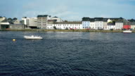 Galway houses with river Corrib in Ireland video