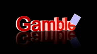 Gamble text with casino chips and cards falling video