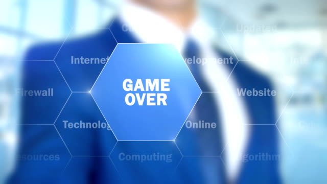 Game Over, Man Working on Holographic Interface, Visual Screen video