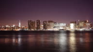 gantry plaza state park night view on manhattan 4k time lapse from new york video