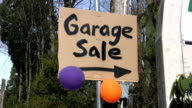 Garage Sale Sign With Balloons (HD 1080p30) video