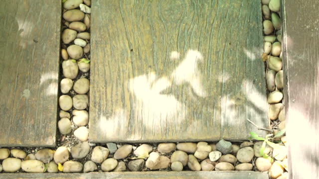 garden landscape paving design. pebble stones and wood plank on the floor video