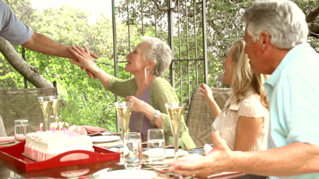 SLOW MOTION - Garden Party Cake Mature Couples. video