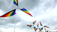 Garden winds. Colorful windmills spinning in the wind. video
