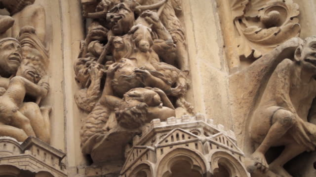 Gargoyle and Statue Details of Notre Dame de Paris, France video