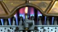 Gas boiler heater burning video