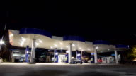 gas station service night scene time lapse video