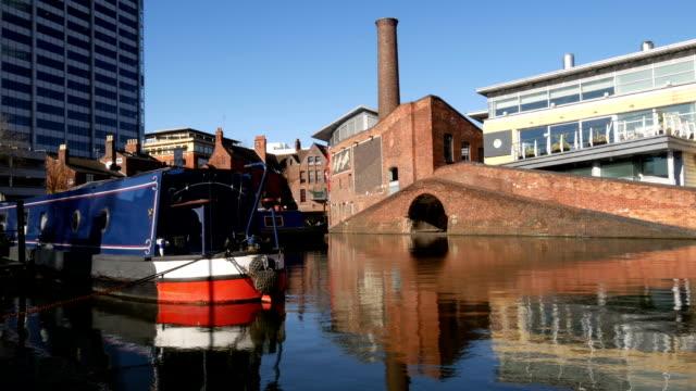 Gas Street Basin, Birmingham. Canal boat detail. video