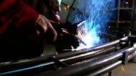 Gas welding a metal pipe video