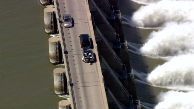 Gavins Point Dam Outflow  - Aerial View - Nebraska, Knox County, United States video