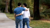 Gay Me Walk on Path Away From Camera MS video