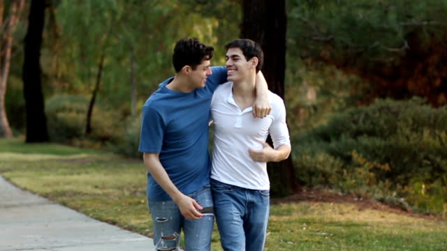 Gay Men Walk on Path CU video