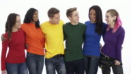 Gay pride group standing in unity isolated against white background video