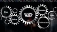 Gear Blog, Follow, Communication, Message, Online. Businessman touch 'Social Media' video