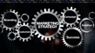 Gear Branding, Solution,Customers, Campaign, Success. Businessman touch 'Marketing Strategy' video