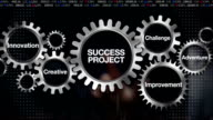 Gear challenge, innovation, creative, adventure, improvement. touch 'SUCCESS PROJECT' video