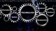 Gear, information management development system, solutions. Businessman touching 'Technology' video