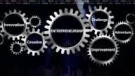 Gear, Innovation, Creative, Improvement, Challenge, Adventure, Businessman touching 'Entrepreneurship' video