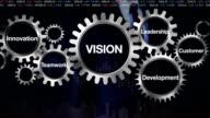 Gear, Innovation, Development, Teamwork, Leadership, Customer. Businessman touching 'VISION' video