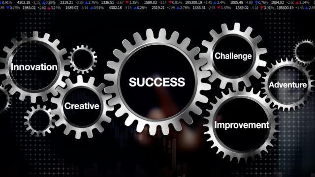 Gear keyword, challenge, innovation, creative, adventure, improvement. Businessman touch 'SUCCESS' video