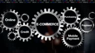 Gear keyword, Online, Credit, , Purchasing, Mobile payment. Businessman touch 'E-COMMERCE' video