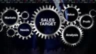 Gear, Markets, Needs, Profit, Analysis, Value. Businessman touching 'SALES TARGET' video