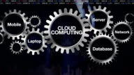 Gear, Mobile, Laptop, Server, Network, Database. Businessman touching 'CLOUD COMPUTING' video