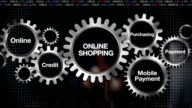 Gear Online, Credit, Purchasing, Mobile payment. Businessman touch 'ONLINE SHOPPING' video