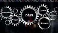 Gear Research, Analysis, Creative, Innovation, Success. Businessman touch 'IDEAS ' video