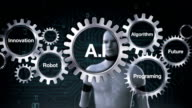 Gear with Future, Programming, Algorithm, Innovation, Robot touching 'A. I' video