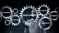Gear with Innovation, Creative, Teamwork, Leadership, Challenge, Robot touching 'DEVELOPMENT' video