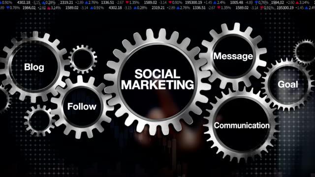Gear with keyword, Blog, Follow, Communication, Message, Goal, Businessman touch screen 'SOCIAL MARKETING' video