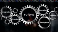 Gear with keyword, Creative, Innovation, Intelligence, Inspiration, Imagination, Businessman touch screen 'FUTURE' video