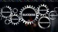 Gear with Leadership, Innovation, Creative, Adventure, Improvement. Businessman touch 'SUCCESS' video