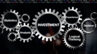 Gear with Statistics, Analysis, Logicalthinking, Experience, Decision. Businessman touch 'INVESTMENT' video