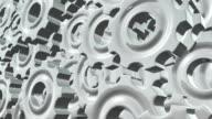 Gears Rotation Background. 3d render loop video. Full HD video