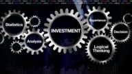 Gear,Statistics, Analysis, Logical thinking, Experience, Decision. Businessman touching  'INVESTMENT' video