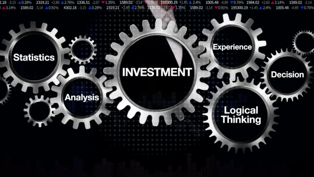 Gear,Statistics, Analysis, Logical thinking, Experience, Decision. Businesswoman touching 'INVESTMENT' video